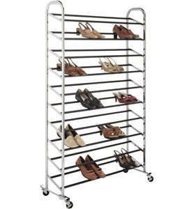Portable Shoe Rack - 50 Pair - Chrome Image