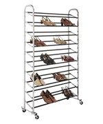 Portable Shoe Rack - 50 Pair - Chrome