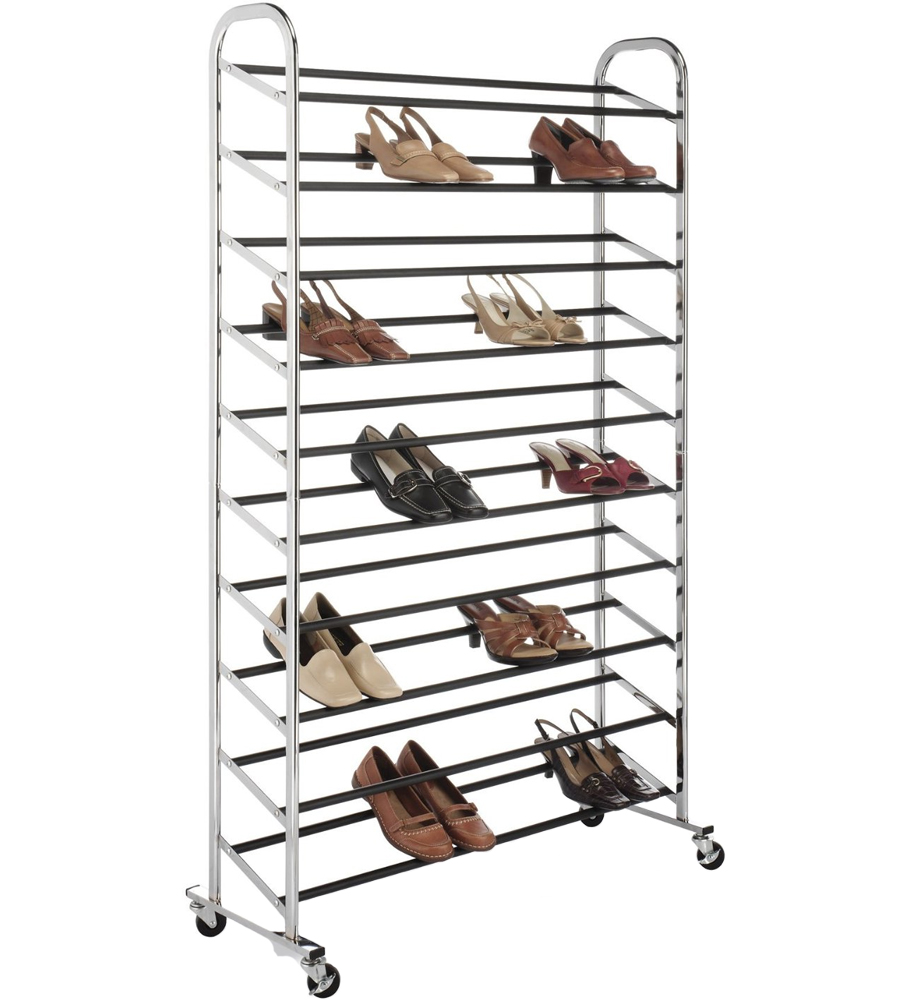 Portable Shoe Rack   50 Pair   Chrome Price: $77.99