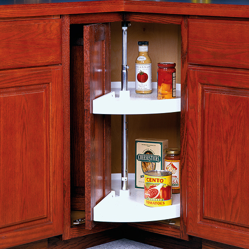 24 Inch Cabinet Lazy Susan White Door Mounted In