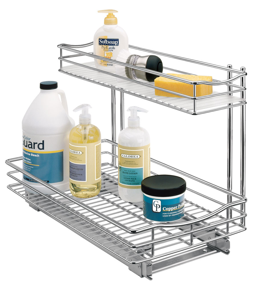 Pull out under sink organizer chrome in pull out baskets Bathroom cabinet organizers pull out