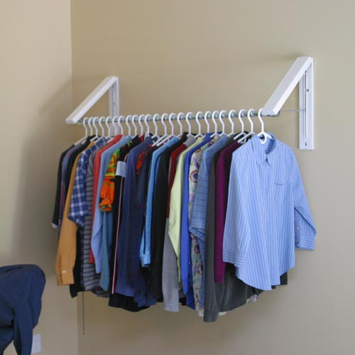Quikcloset clothes storage solution in closet rods and No closet hanging solutions