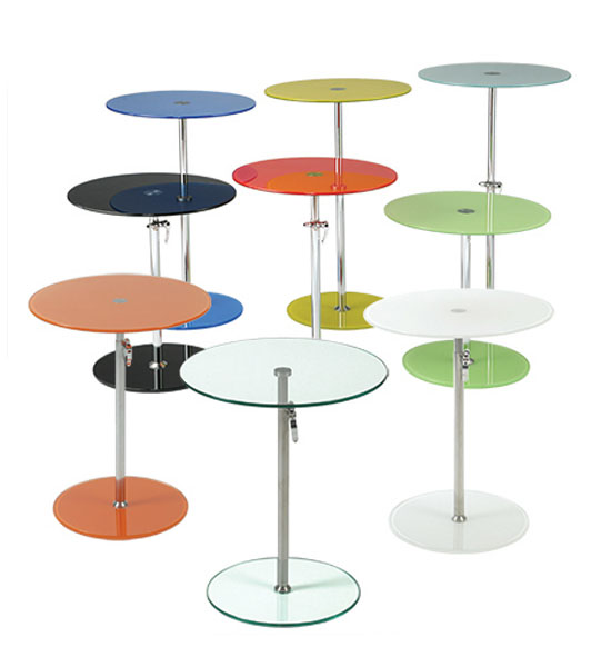 Superb Round Colored Glass Adjustable Side Table Image