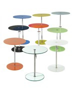 Round Colored Glass Adjustable Side Table