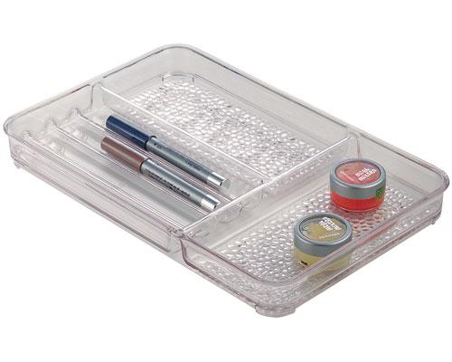 Rain vanity drawer finishing storage tray in cosmetic for Bathroom tray organizer