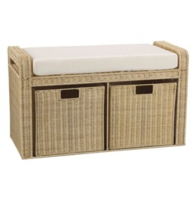 Rattan Storage Seat - Natural by Household Essentials Image