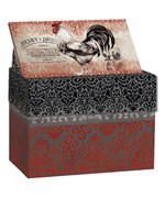 Recipe Card File Box - Rooster