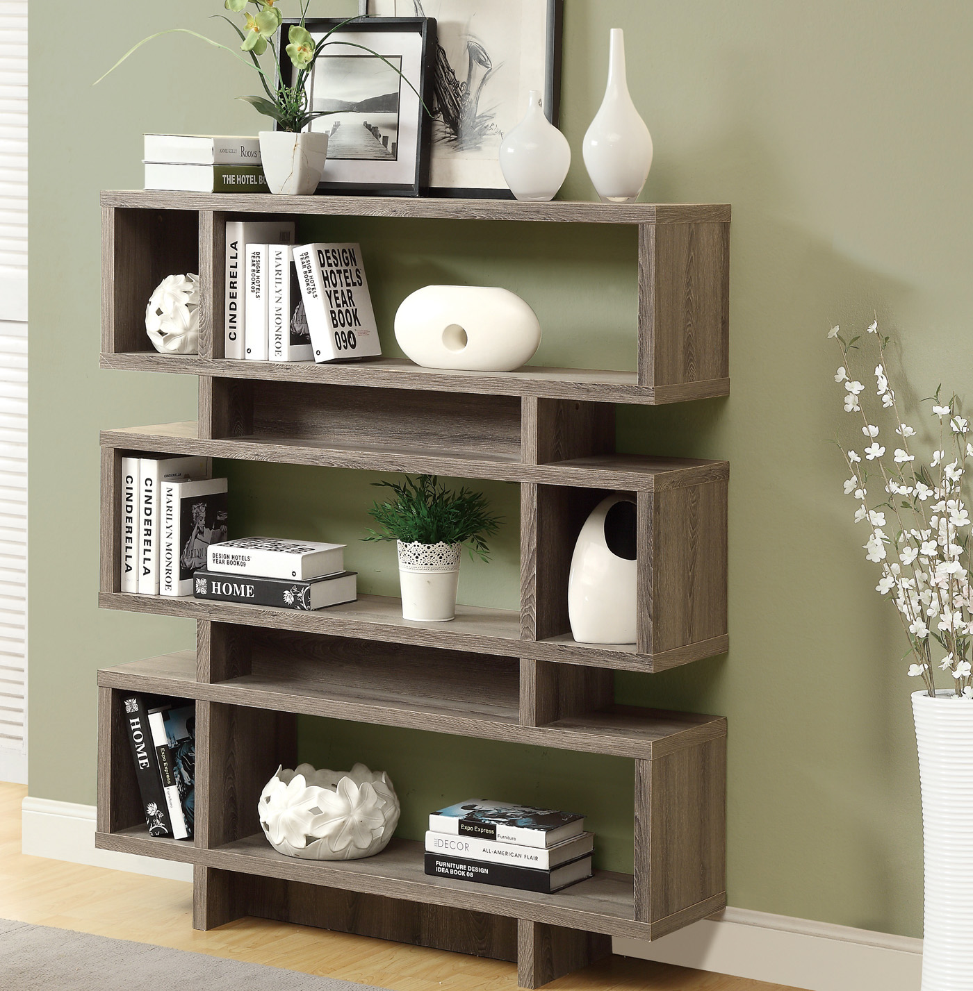Reclaimed Look 55 Inch H Modern Bookcase in Bookcases