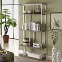 Reclaimed Look / Chrome Metal 72 Inch H Bookcase by Monarch Specialties