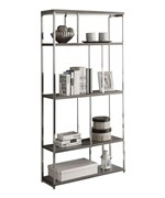 72 Inch Chrome Metal Bookcase - Dark Taupe