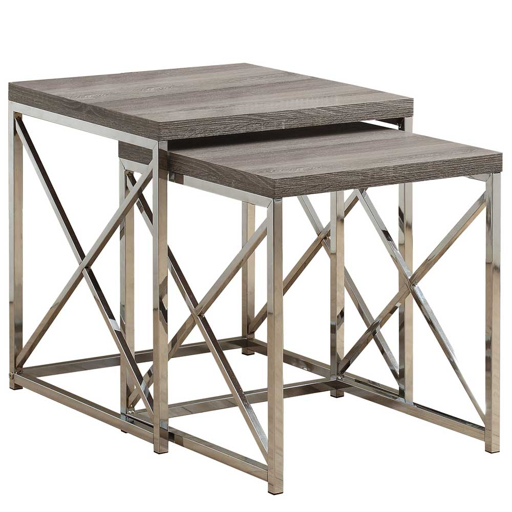 Reclaimed Look Nesting Tables Set Of 2 In Nesting Table Sets