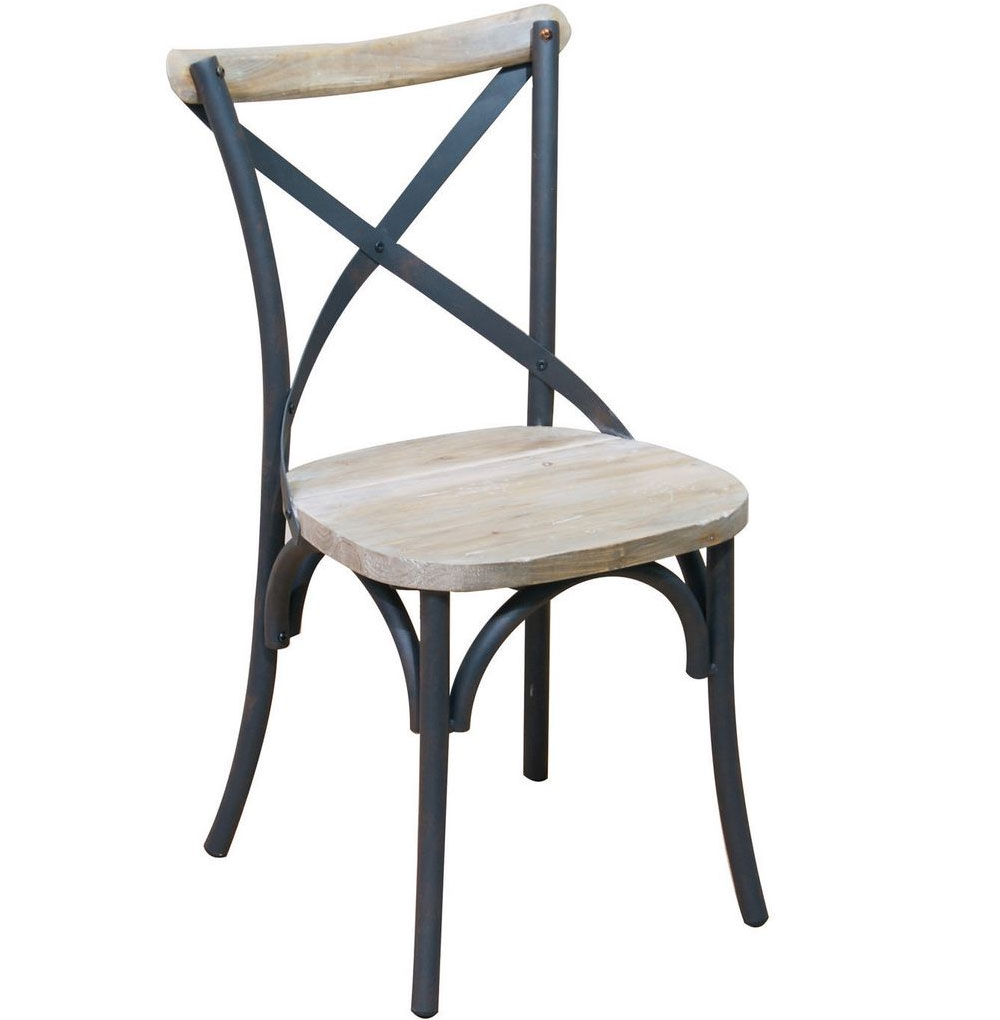 Reclaimed wood and metal dining chairs set of in