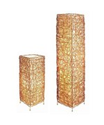 Rectangle Rattan Floor and Table Lamp Set by O.R.E.