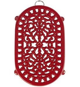 Red Cast Iron Trivet - Dutch Style Image