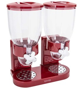Red Double Dry Food Dispenser Image