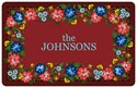Red Floral Personalized Kitchen Mat