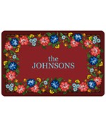 Red Floral Personalized Kitchen Rug