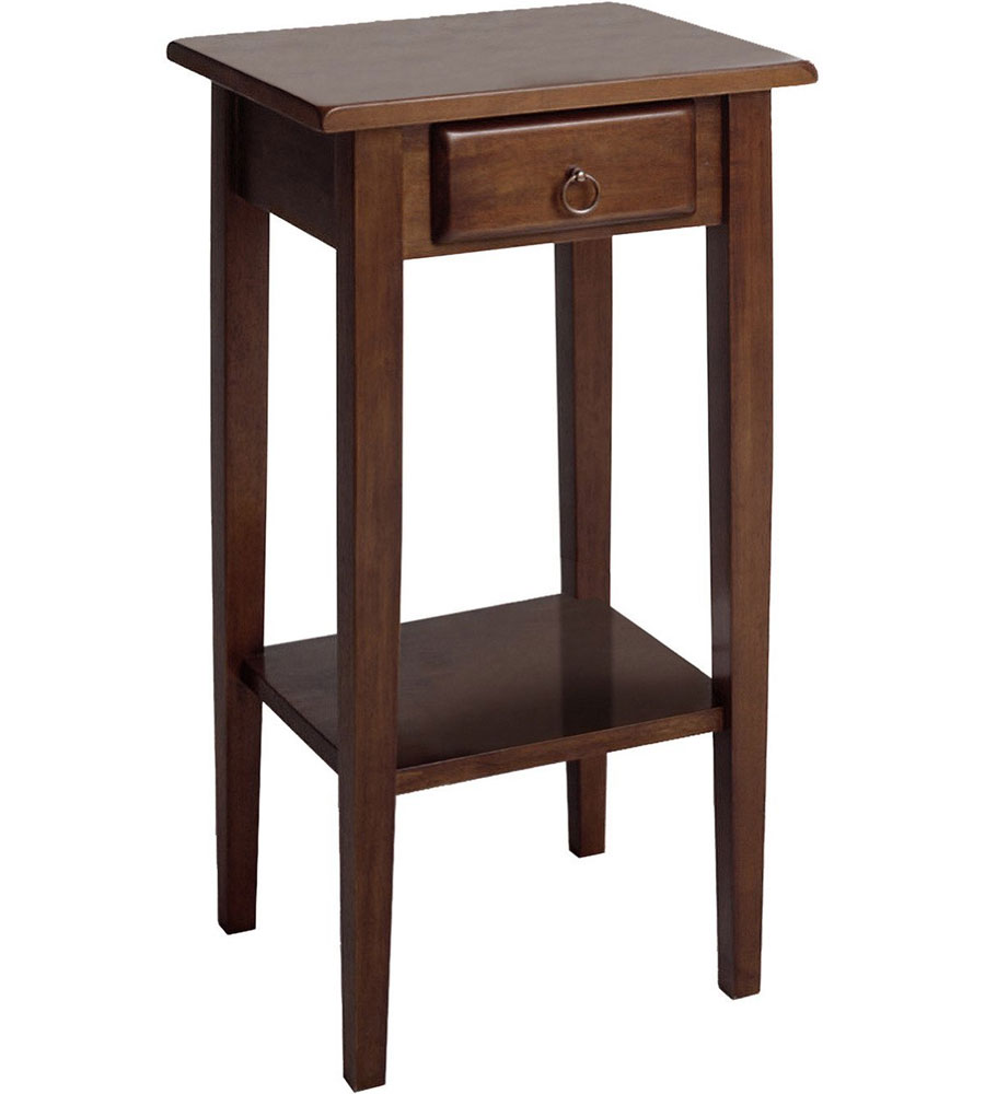 regalia accent table with drawer antique walnut in side