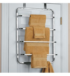 Four-Tier Over the Door Towel Rack - Chrome Image