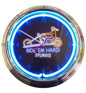 Ride Em Hard Sturgis Motorcycle Neon Clock Image