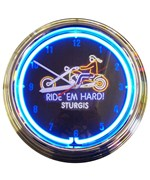 Ride Em Hard Sturgis Motorcycle Neon Clock