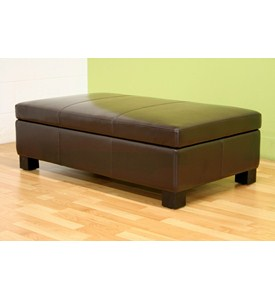 Rocio Brown Bonded Leather Storage Ottoman By Wholesale Interiors Inc Image