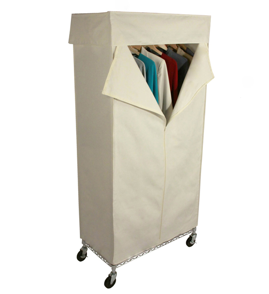 Rolling Wardrobe Closet And Canvas Cover In Clothing Racks