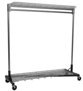 Rolling Clothes Rack - 3 Ft. with Shelves Image