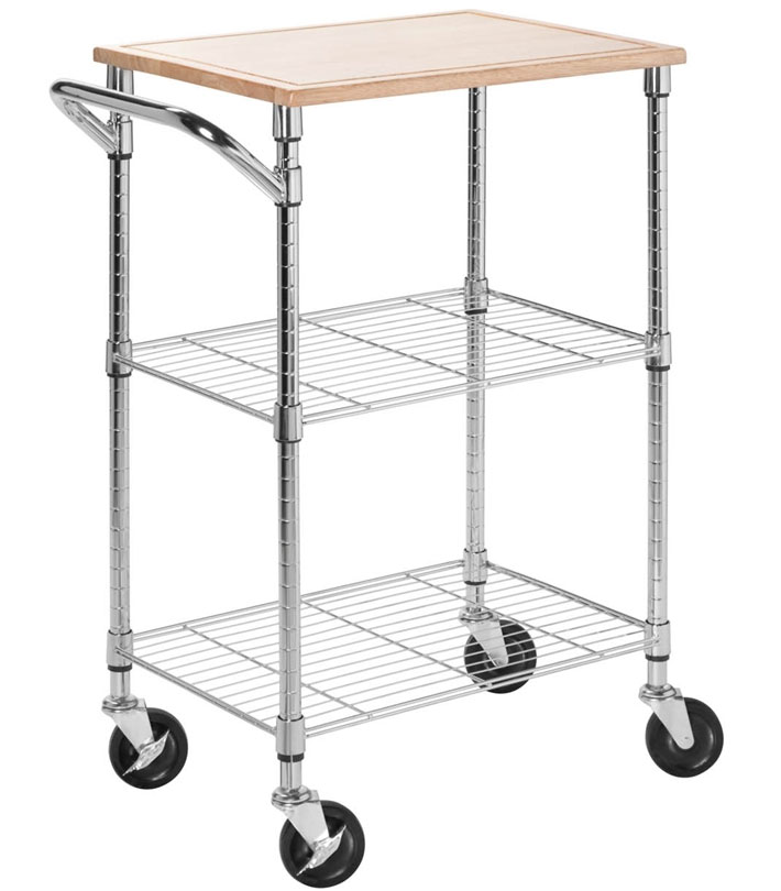 Rolling Storage Cart, Rolling Kitchen Cart   Chrome ...