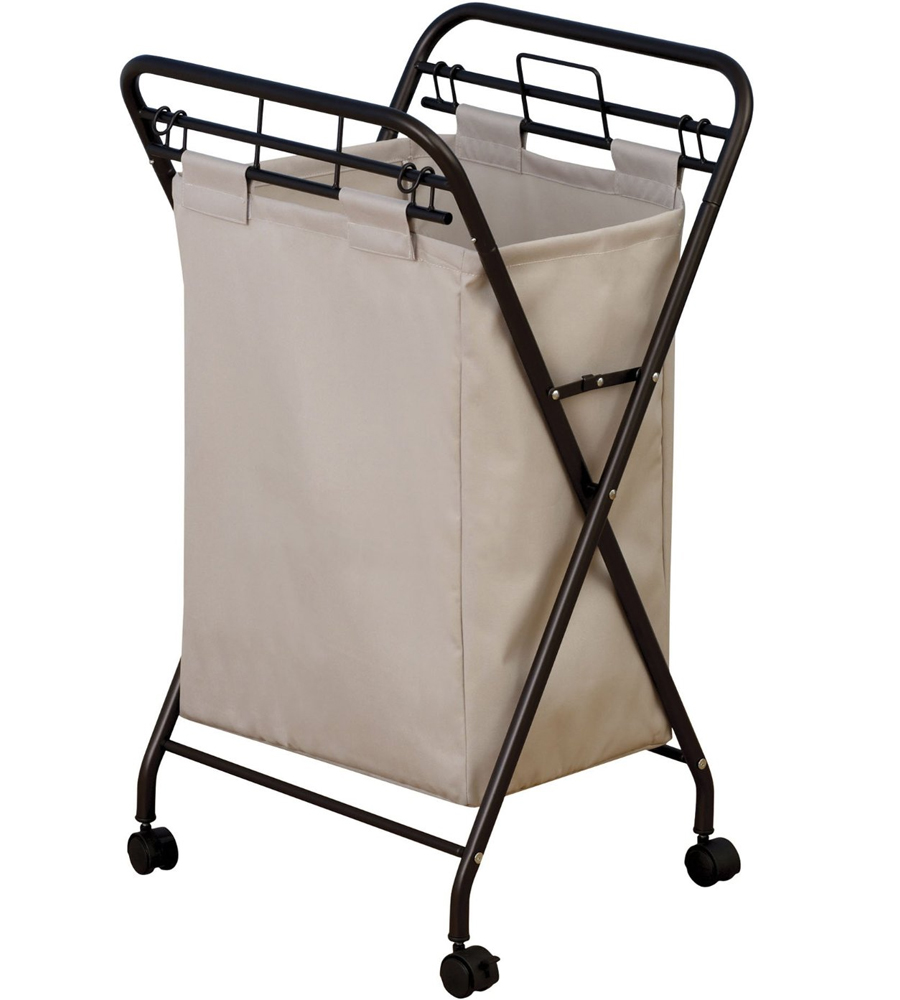 Rolling Laundry Hamper Antique Bronze In Clothes Hampers