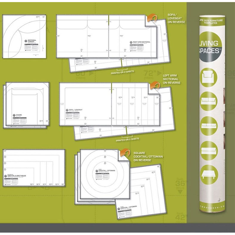 Life Size Furniture Templates   Living Room Price: $25.99
