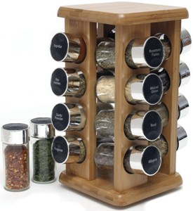 Rotating Spice Rack - Bamboo - 16 Bottle Image
