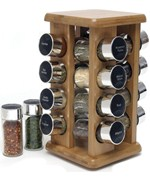 Rotating Spice Rack - Bamboo - 16 Bottle