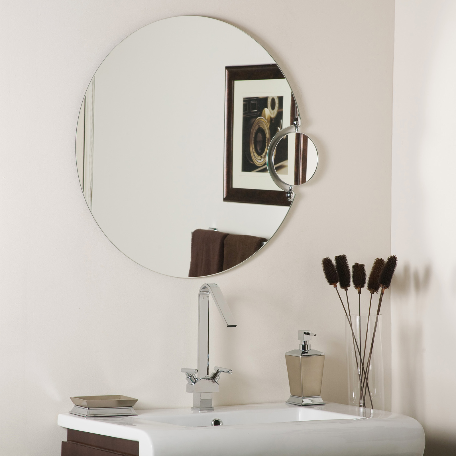 Round Bathroom Mirror With Side Magnifier In Frameless Mirrors
