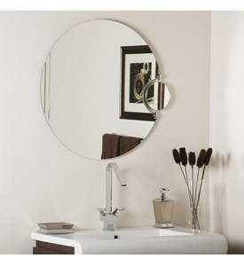 Round Bathroom Mirror with Side Magnifier Image