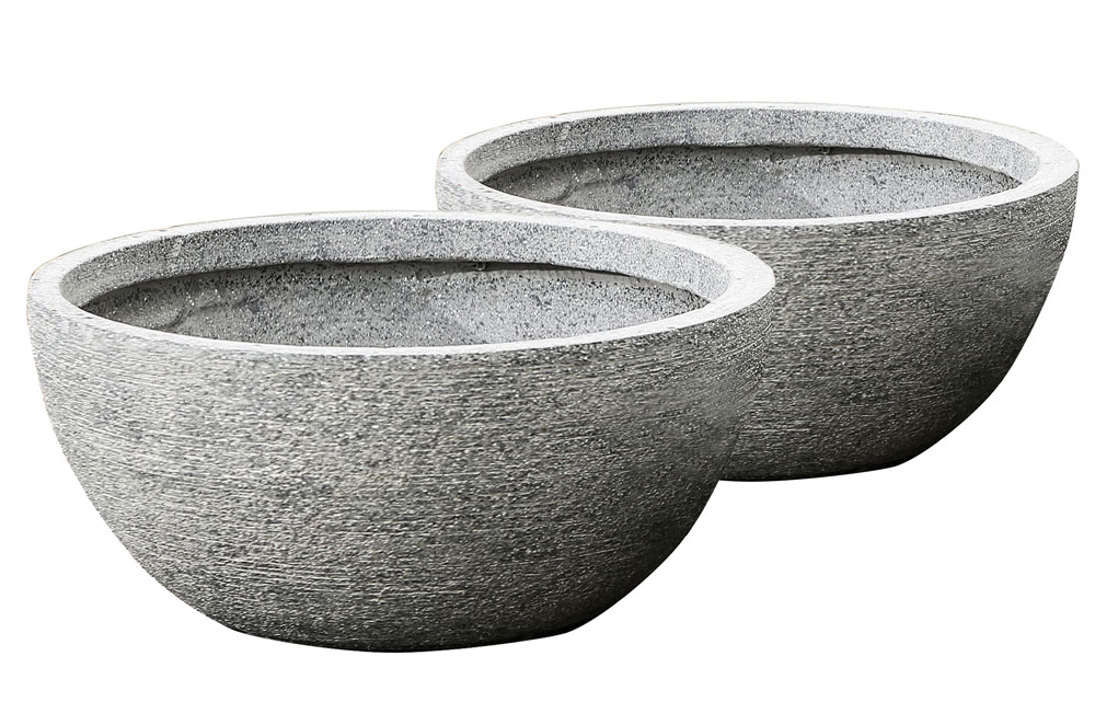 Round Bowl Planters Set Of 2 In Outdoor Planters