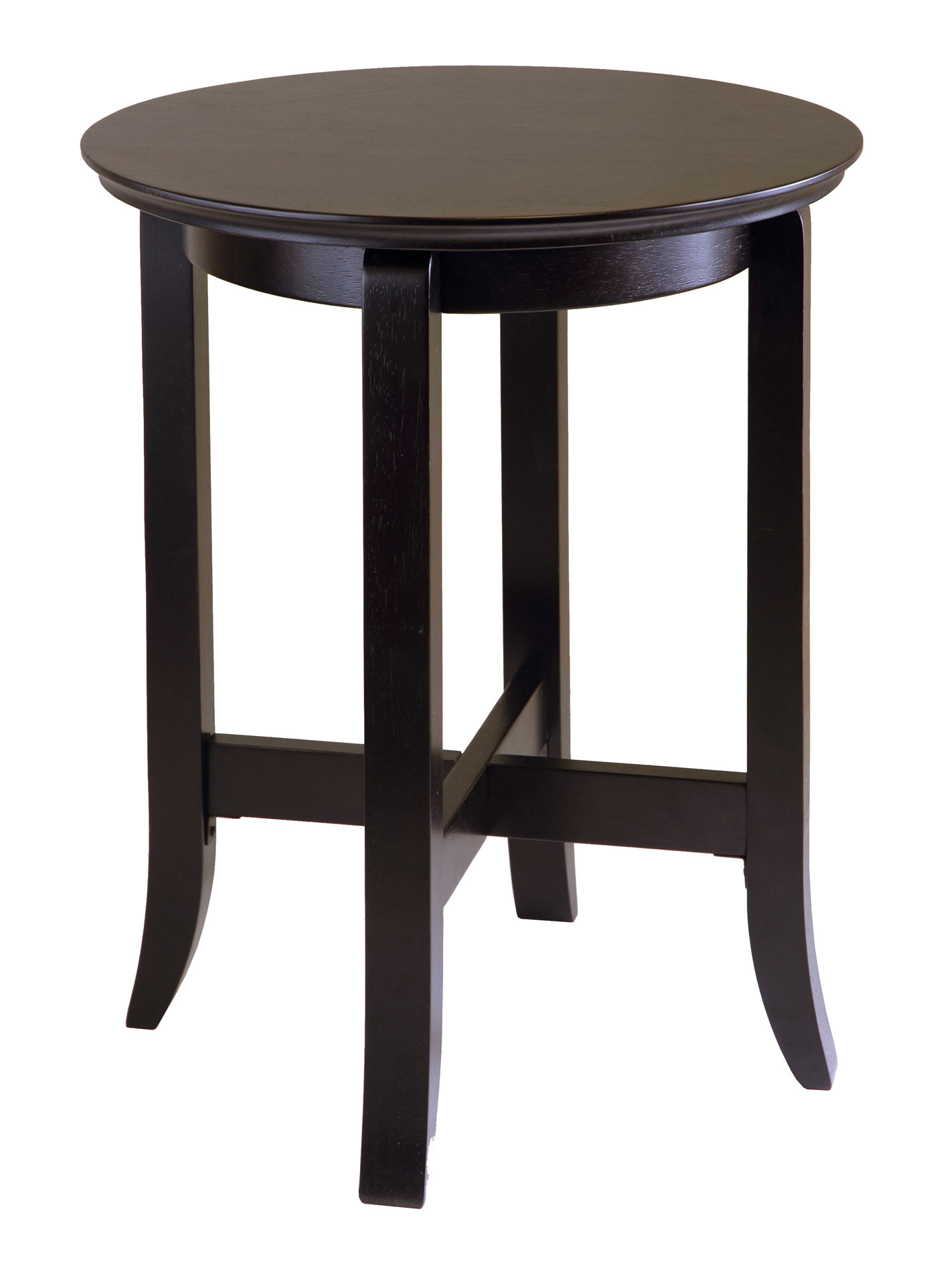 Round espresso wood end table in side tables