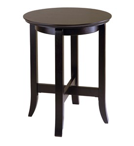 Round Espresso Wood End Table Image