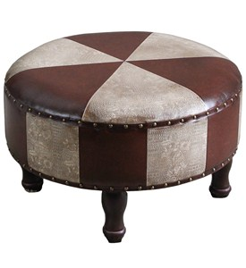 Round Faux Leather Stool Image