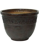 Round Flower Pots - Embossed Scroll