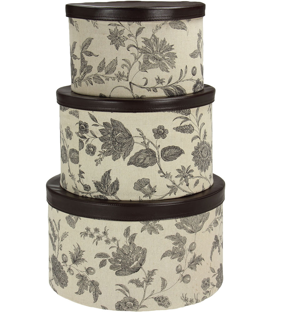 round hat boxes set of 3 in clothing storage boxes. Black Bedroom Furniture Sets. Home Design Ideas