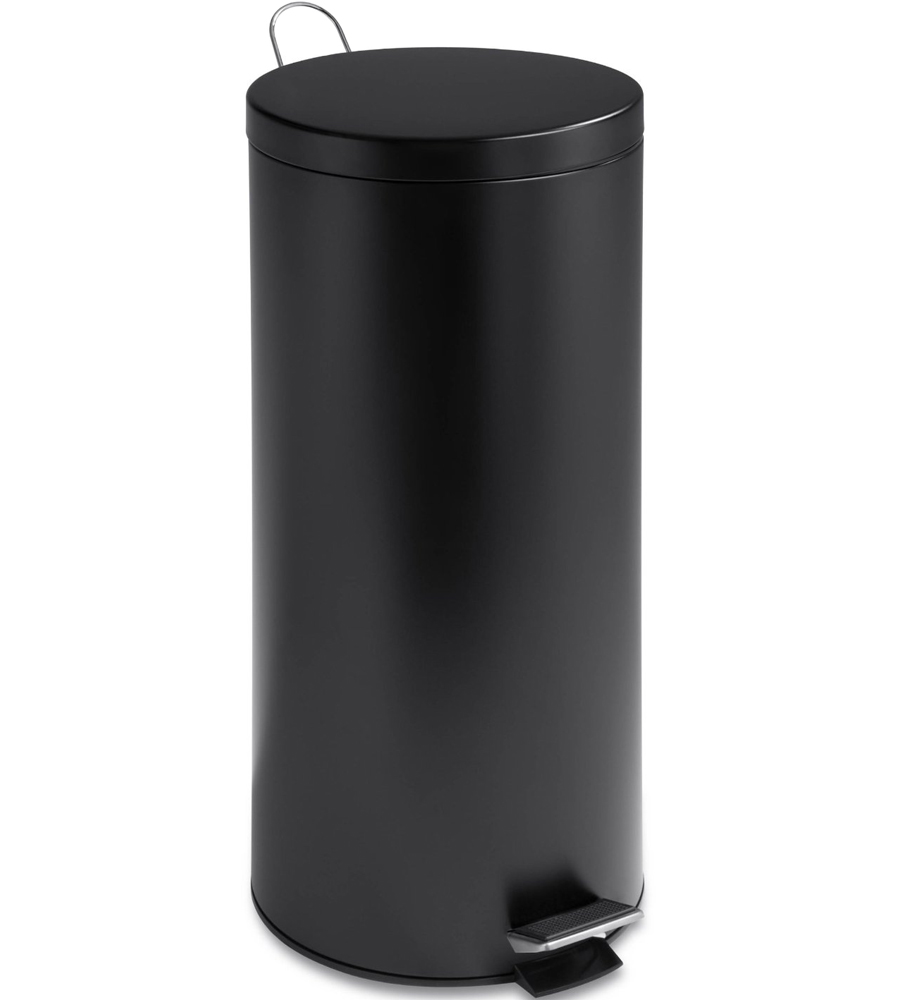 Round Stainless Steel Trash Can   Black ...