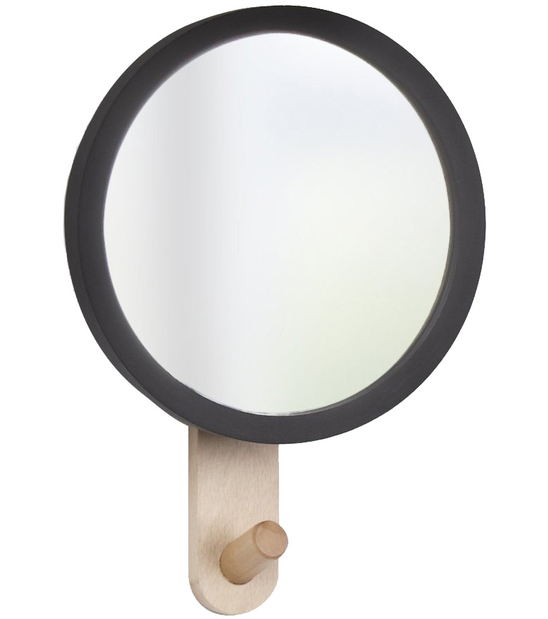 Umbra hub mirror hook round wall mirror with hook for Round black wall mirror