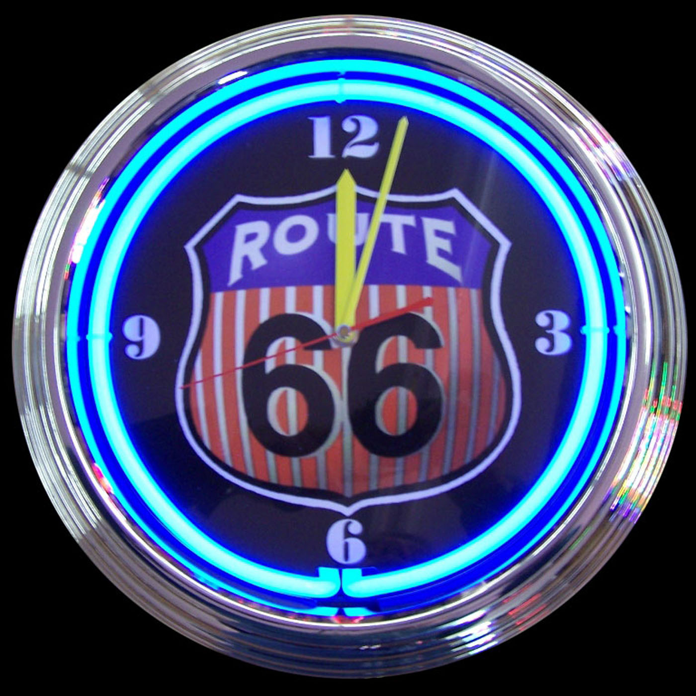 Route 66 Neon Clock by Neonetics in Wall Clocks