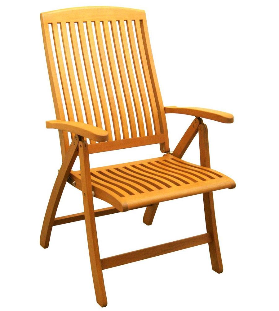 Royal Tahiti 5 Position Folding Wood Arm Chair Set Of 2