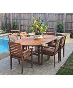Royal Tahiti Oval Extendable Dining Table with Chairs - Set of 7 by International Caravan