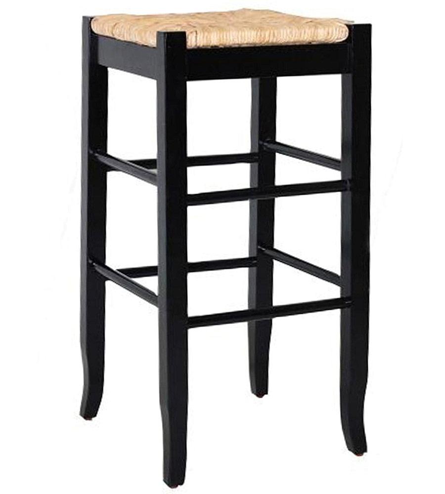 Rush Seat Bar Stool In Wood Bar Stools