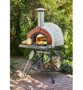 Rustic Wood Fired Oven with Red Brick Front by Rustic Natural Cedar Image