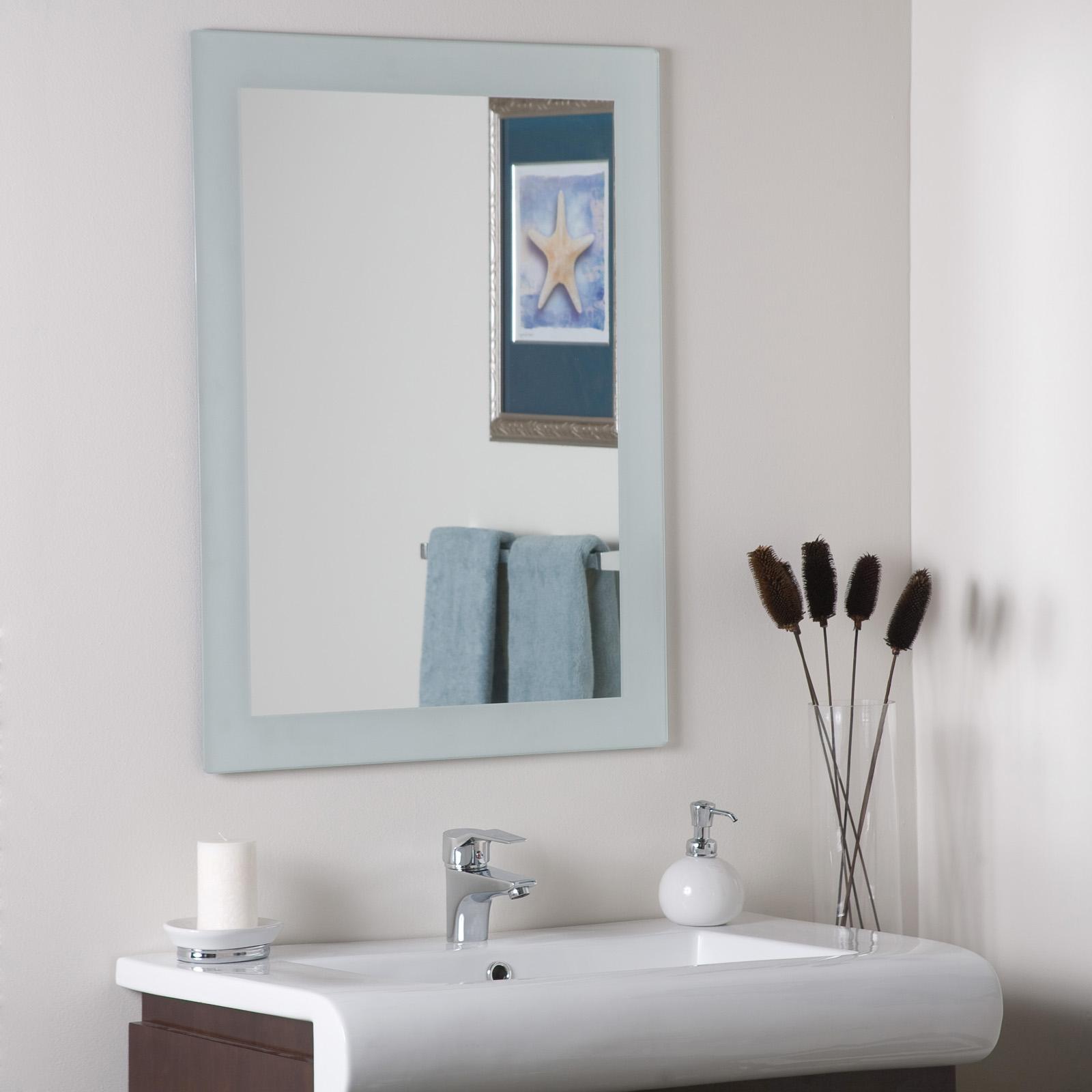 sandblasted border wall mirror in frameless mirrors. Black Bedroom Furniture Sets. Home Design Ideas