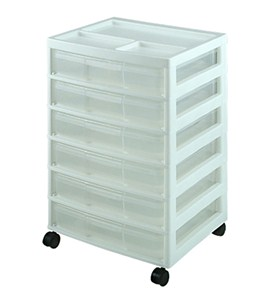 Six-Case Rolling Scrapbook Organizer - White Image